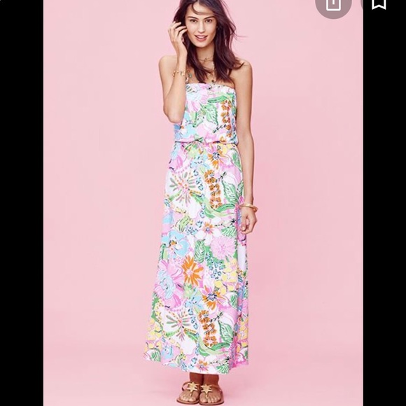 Lilly Pulitzer extra large strapless maxi Marlisa